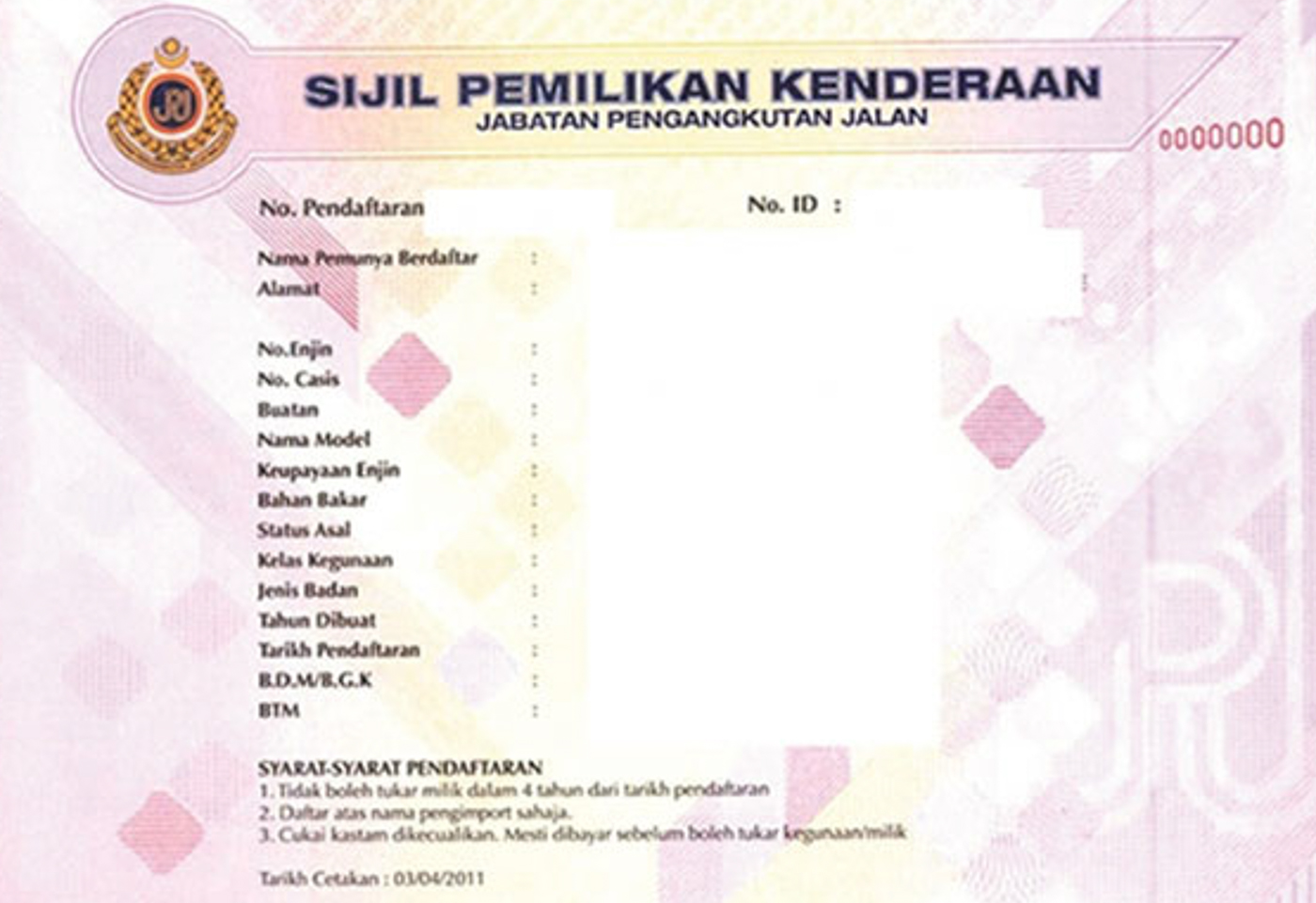 Jpj Introduces Vehicle Ownership Certificate Voc To