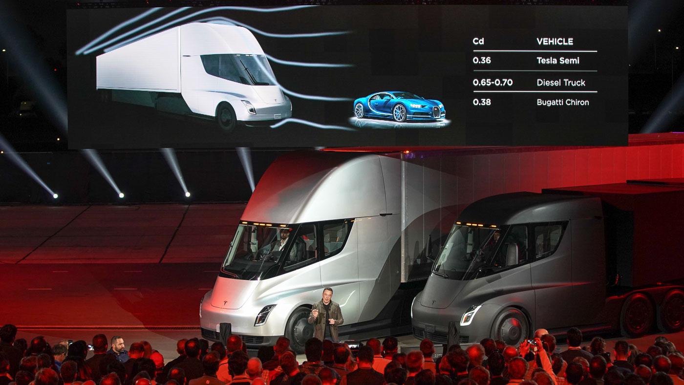this tesla semi truck is more aerodynamic than a bugatti chiron