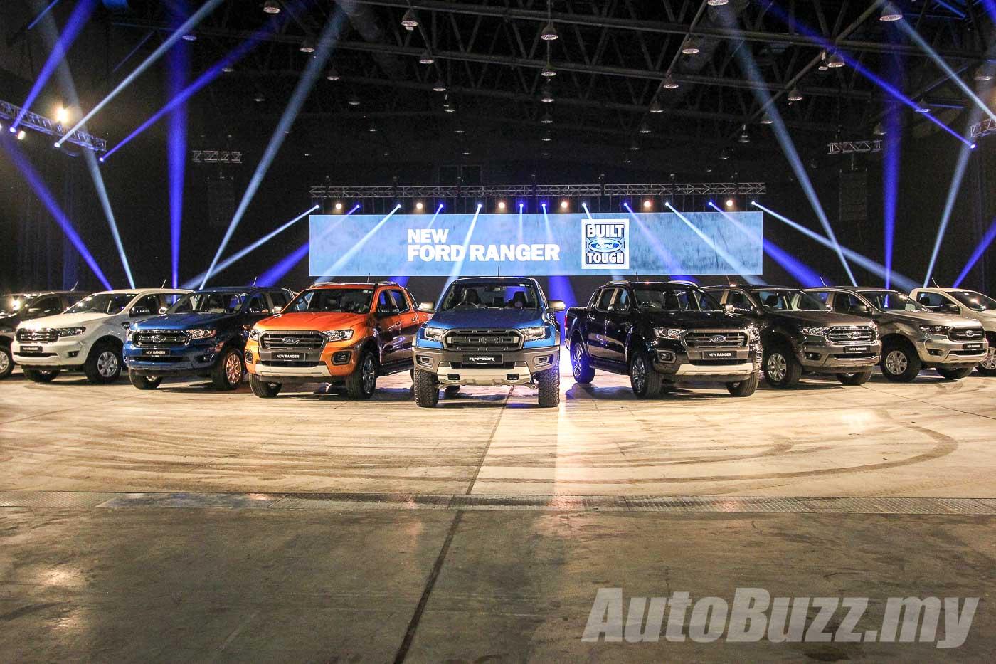 Ford Ranger line-up, including XL, XLT, WildTrak, and Raptor
